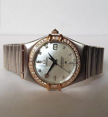 鴻圖當舖 OMEGA 歐米茄 星座10週年紀念台灣限定版18K玫瑰半金女庄鑽錶