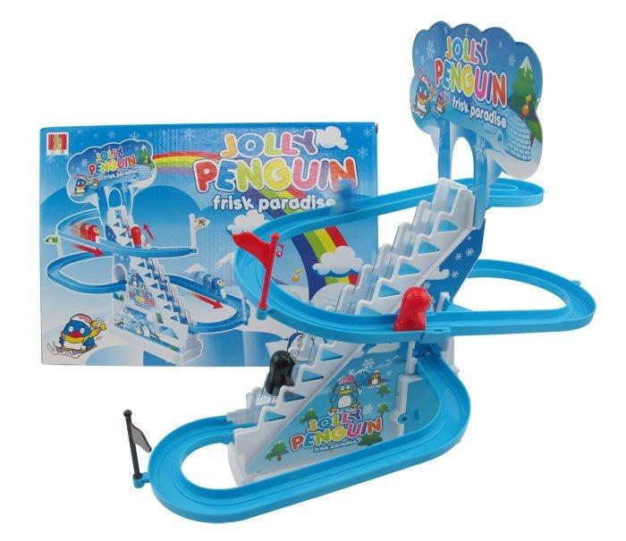 【阿LIN】203874 777-3電動企鵝軌道 南極 溜冰 爬樓梯 溜滑梯 滑雪 模型 玩具