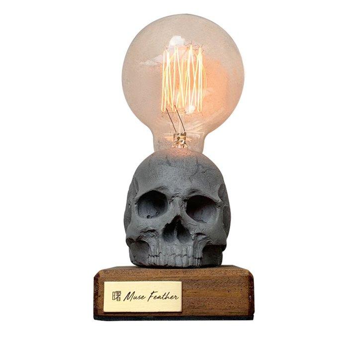 【曙muse】骷髏木底盤燈 個性水泥桌燈 造型檯燈 Loft 工業風 咖啡廳 民宿 餐廳 居家擺設