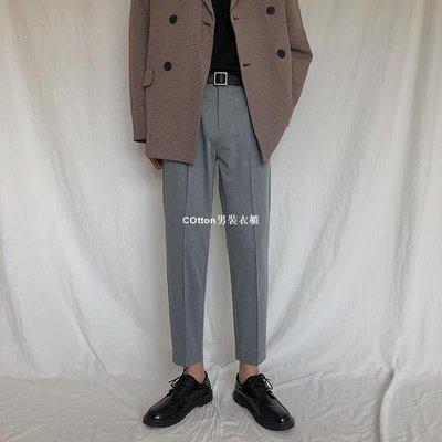 COtton男裝衣櫃垂墜感九分西褲男士正韓潮流休閒褲青年修身小腳褲髮型師百搭褲子