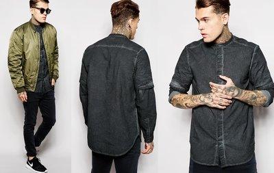 ◎美國代買◎ASOS黑灰色褪色暈染搭配老爺爺圓立領設計英倫頹廢風襯衫上衣~歐美街風~大尺碼