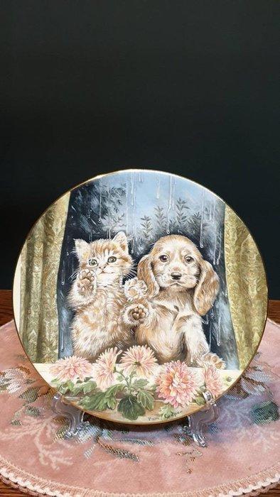 【卡卡頌 歐洲古董】英國 Royal Worcester 皇家伍斯特 簽名 骨瓷  飾盤 甜蜜貓狗 p1496