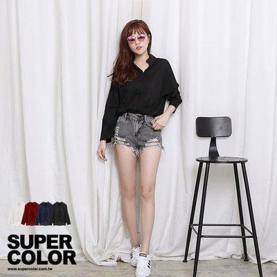 襯衫 氣質優雅立領雪紡長袖襯衫 -Super Color 黑