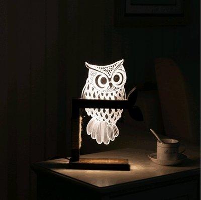 《鐵鐫創意》可調光-立體3D視覺光雕LED櫸木座燈‧小夜燈‧療癒氣氛燈-聖誕禮物‧情人節禮物‧生日禮物‧貓頭鷹款