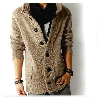 【現貨】秋季男款針織開衫  加厚毛衣韓版  羊毛衫休閒外套 M號 黑 藍 駝〈D070〉J