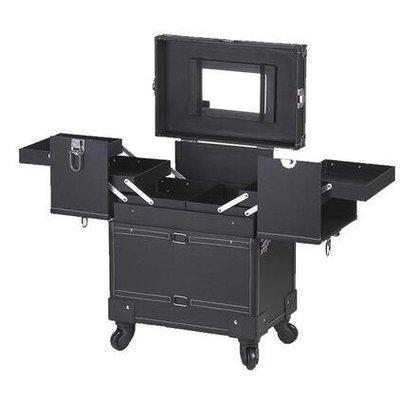 【優上】豪華萬向輪拉桿化妝箱拉桿箱專業大號多層收納箱紋繡工具箱黑色平紋萬向輪加強版