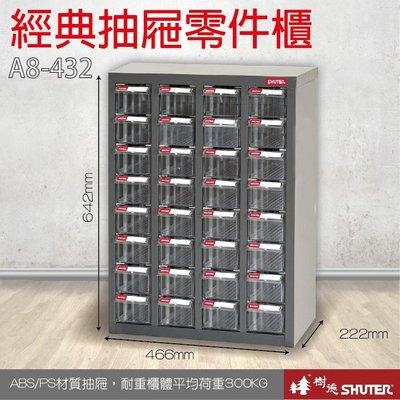 樹德 A8-432 32格抽屜 裝潢 水電 維修 汽車 耗材 電子 3C 包膜 精密 車床 電器 【經典抽屜零件櫃】