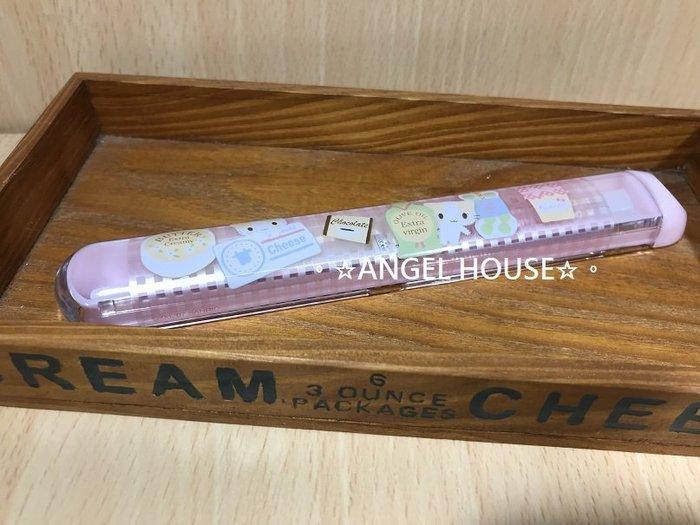 。☆ANGEL HOUSE☆。日本進口**棉花糖貓**攜帶式盒裝筷組610