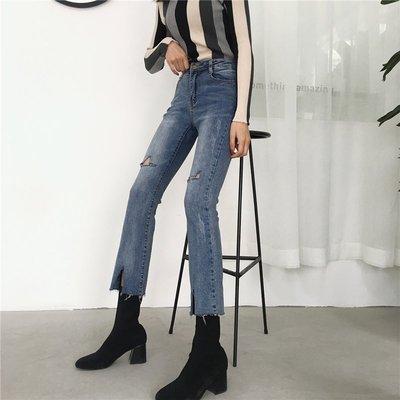 2018春夏新款韓版破洞修身不規則九分微喇褲顯瘦高腰牛仔褲女學生