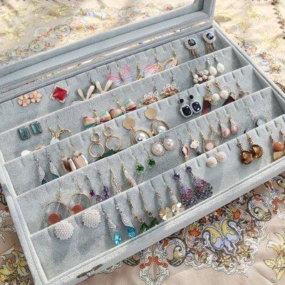 優彩絨布首飾收納盒大容量戒指手鐲耳釘耳環展示盒項錬飾品珠寶箱  HM