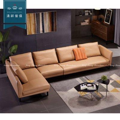 【新竹清祥傢俱】PLS-07LS137-現代時L型牛皮沙發 可訂製時尚 L型 牛皮 風格 多人 飯店 民宿 牛皮