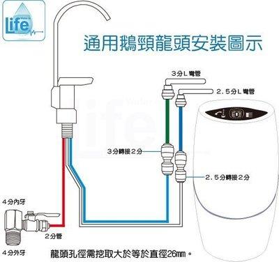 適用安麗益之源淨水器--通用型鵝頸水龍頭組三管無壓含配件轉接頭,附兩段藍綠色安麗原廠水管