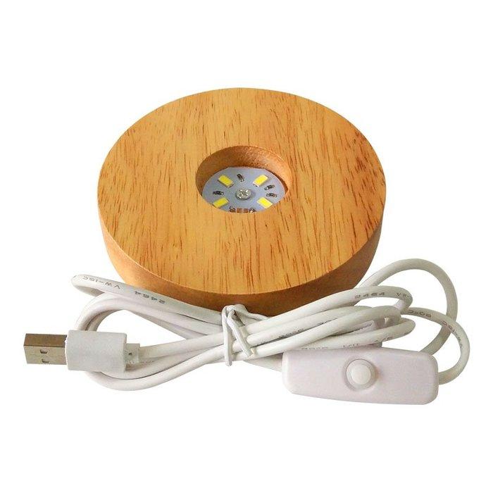 [滿藝精選] 精選配件標❤️實木LED燈座  水晶照明 氣氛夜燈 USB充電