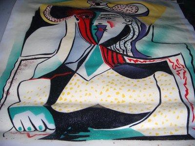 『抽象畫人物』手工油畫原作無框長寬約68x59公分最傑出的一幅油畫