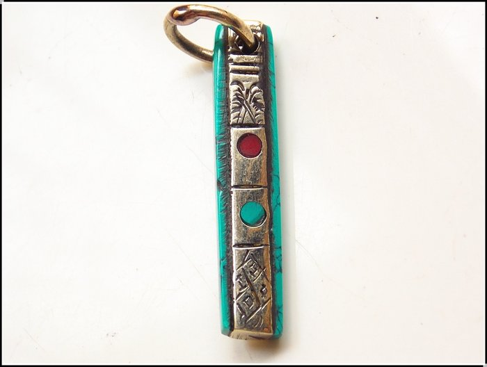 【雅之賞|藏傳|佛教文物】*特賣* 尼泊爾藏銀裹松石吊墜~205311