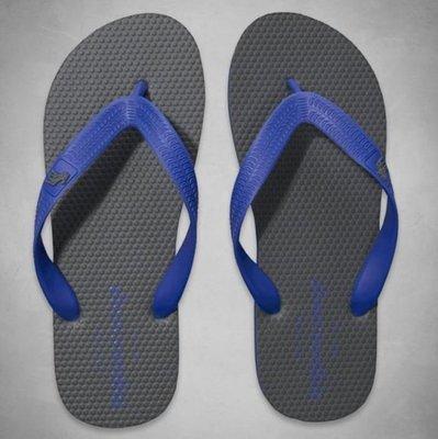 【天普小棧】A&F abercrombie contrast color flip flops人字夾腳拖鞋KIDS灰XL