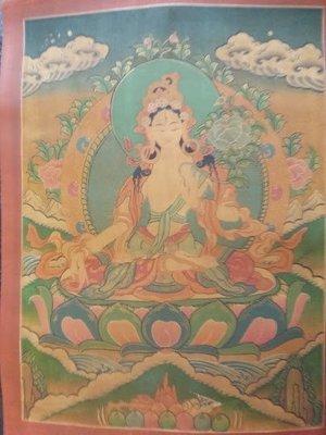 甘丹佛教文物^^尼泊爾手繪唐卡 白度母...