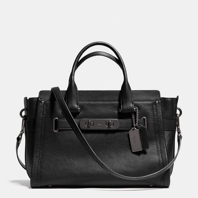 Coco小舖 COACH 34408 S WAGGER CARRYALL IN PEBBLE LEATHER 黑/黑色