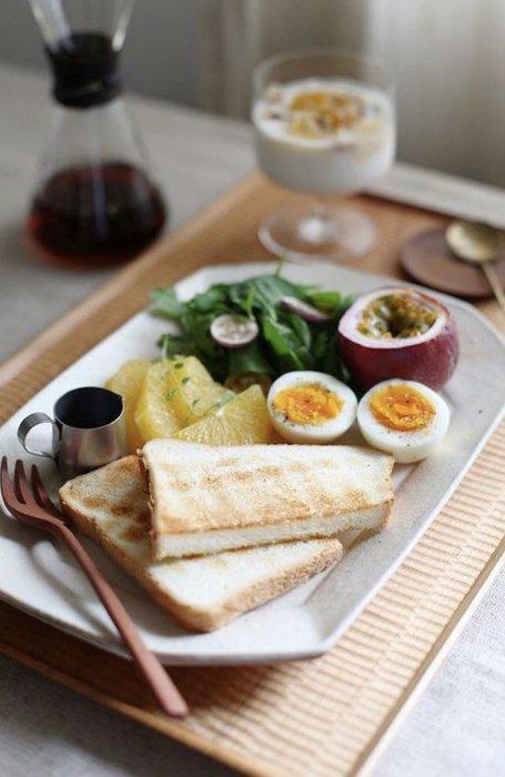 發現花園日本選物 ~日本製 信樂燒作家  古谷製作所 古谷浩一 八角長方皿 餐盤~咖啡/粉引