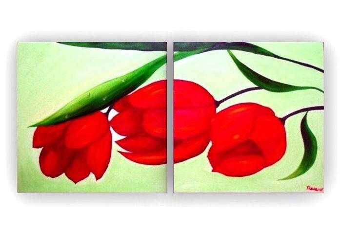 Art City :手繪創作抽象油畫~雙福~已完成作品實品拍攝 含內框可直接懸掛