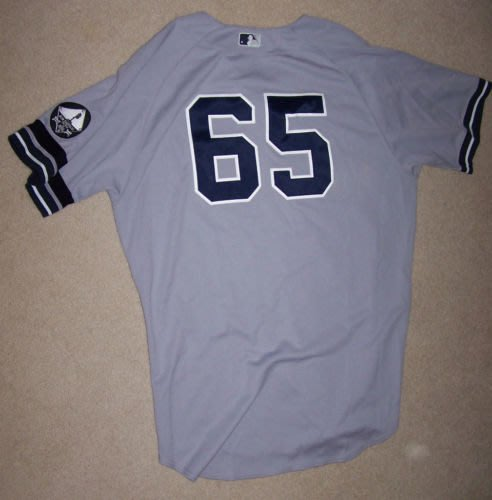 2010 MLB YANKEES #65 PHIL HUGHES GAME ISSUED ROAD JERSEY