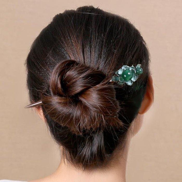 頭髪髪簪釵成人頭飾盤髪簪子古典復古步搖飾品宮廷古風髪飾木女