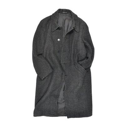 agnes b. Long Trench Coat 法國製 深灰 長版 大衣 口袋 冬季