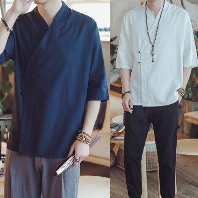 ∵ PRAY FOR FASHION ∴中國風禪意漢服改良純色棉麻中式斜開襟盤扣亞麻七分袖襯衫