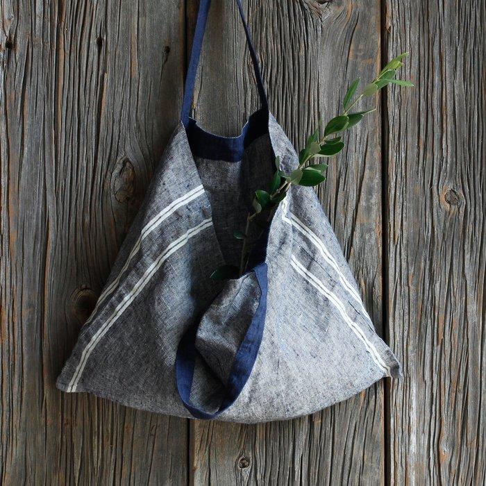 MH選物室 Lino e Lina 自然系 藍灰色 全麻 麻製 直 條紋 手提 手拿 購物 袋
