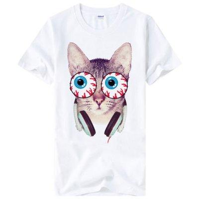 Eyeball Cat短袖T恤-白色 貓相片幽默搖滾設計插畫裸女潮流情色樂團玩翻390 gildan fruit