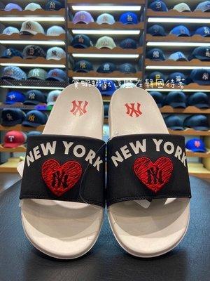 現貨 MLB 100%韓國代購 MLB 21年新款 HEART MOUND 輕便拖鞋 32SHHH111-50L 黑色NY 240鞋碼現貨