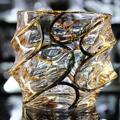 捷克波西米亞風格描金進口工藝無鉛水晶玻璃洋酒杯白蘭地威士忌杯yi   全館免運