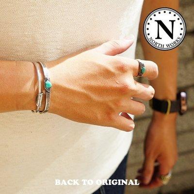 Back to Original【North Works】日本匠人手打 N-246 10¢錢幣鑲綠松石手環