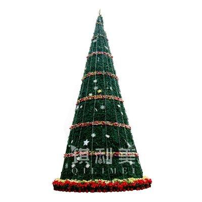 聖誕戶外燈光新款聖誕節5-20米大型鐵藝框架LED發光聖誕樹裝飾品