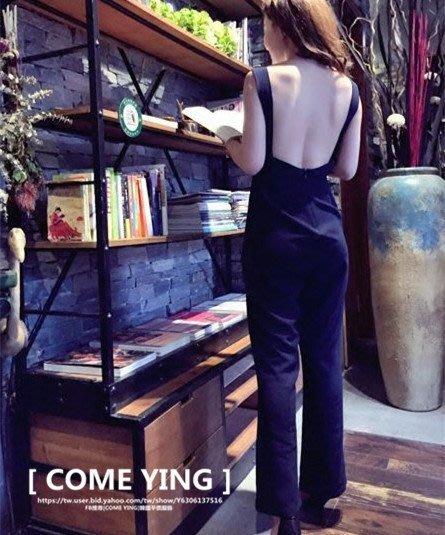 【COME YING】歐美時尚.深藍色 大露背性感渡假風 休閒長褲/連身褲 S/M/L $750