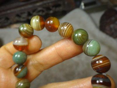 《藍晶寶石玉石特賣》→〈手鍊系列〉→天然七彩虎皮紋清透蜜糖黃玉髓10mm手珠鍊→G181
