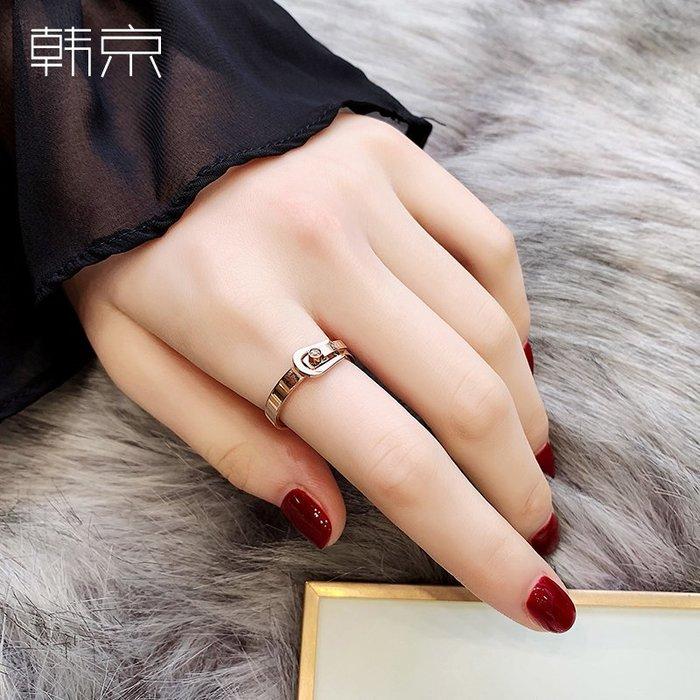 韓京經典皮帶頭戒指女韓版簡約氣質網紅鈦鋼鑲鉆食指戒指環手飾品對戒銀戒指 首飾尾戒結婚對戒