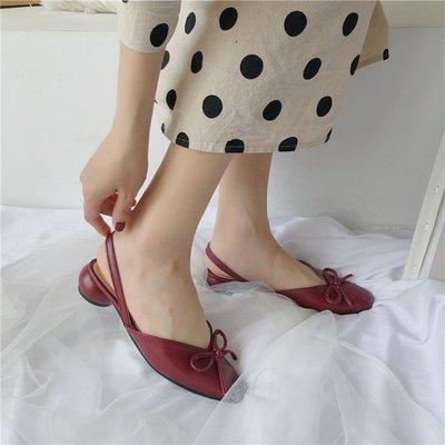 女鞋凉鞋女包头红色2019夏季新款女韩版百搭粗跟一字扣网红罗马凉鞋潮
