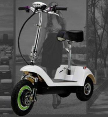 電動滑板車【12吋3輪.36V-無刷/輪殼電機&36V鋰鐵電池】5秒快速折疊、輕鬆放入後車箱!好便攜、可折疊!