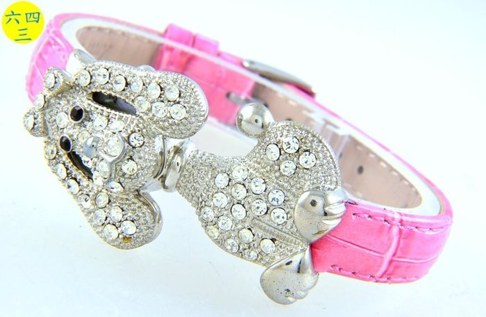 (六四三精品)狗狗造型鑲滿水晶鑽.真皮錶帶.精準手錶!
