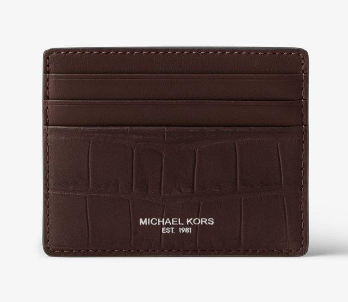 全新美國精品名牌 Michael Kors Men MK 咖啡色經典款皮革名片夾信用,附原廠禮盒,低價起標無底價!免運!