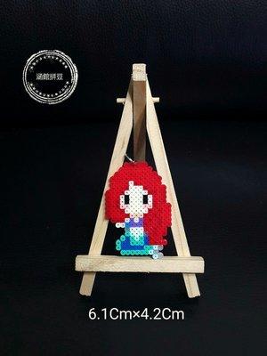 【涵館】 拼豆-迪士尼-小美人魚(愛麗兒)與小比目魚-鑰匙圈、掛件(3mm)