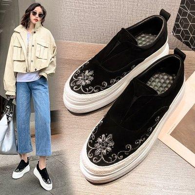 Fashion*厚底松糕鞋 真皮坡跟一腳蹬懶人鞋 磨砂黑色高跟樂福鞋34-39碼『黑色』