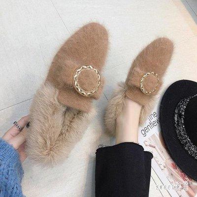 YEAHSHOP 社會毛毛鞋女冬季外穿 新款平底豆豆鞋女加絨保暖孕婦棉鞋瓢鞋502571Y185