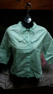 全新專櫃B2品牌淺綠色休閒七分袖襯衫