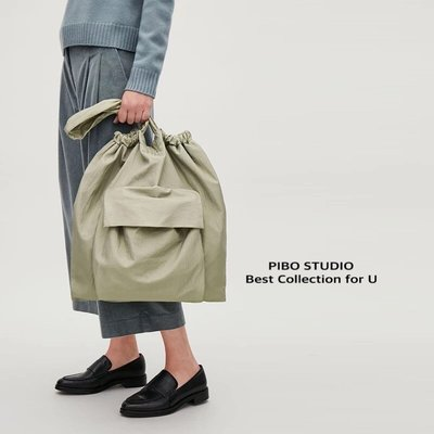 [PIBO] 歐美 多功能包 大容量 托特包 GATHERED TOTE BAG款 抽繩設計 環保袋 輕便購物袋