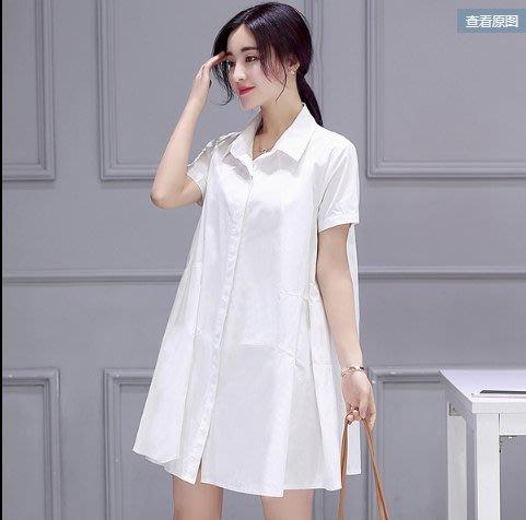 韓國 東大門 白襯衫 襯衣 上衣S-3XL韓版中長款寬鬆遮肚顯瘦襯衣裙G711.胖胖美依