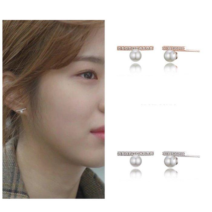 【韓Lin連線代購】韓國 HAESOO.L 海秀兒 - MB1299 925銀 珍珠鑲鑽耳環