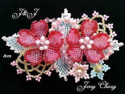 J&J精品~與妳同心~珠寶編織立體花葉法國夾~大紅款