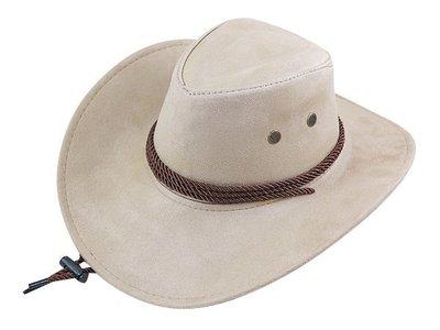 【二鹿帽飾】雞皮 皮繩滾邊 高質感牛仔帽/ 西部帽/ 牛仔帽/表演帽/國小以上表演專用帽-卡其色
